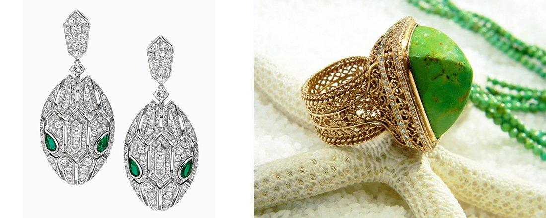 серьги и кольцо в итальянском стиле