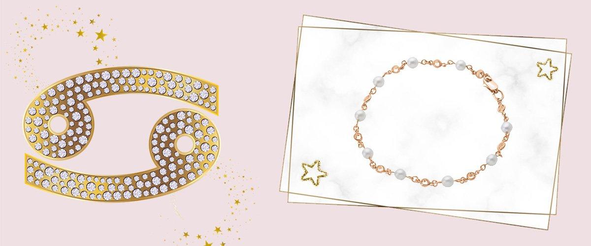 Золотой браслет с жемчужными вставками