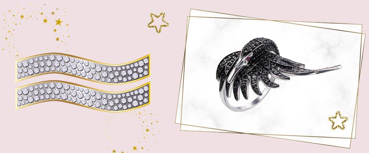 Кольцо из белого золота с черными фианитами в виде лебедя