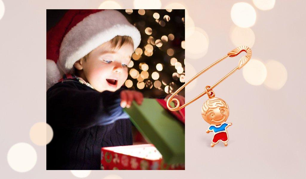 золотая булавка для ребенка 585 пробы