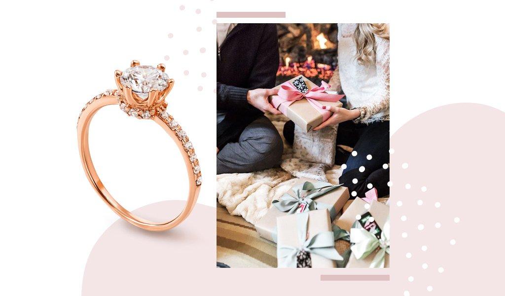 золотое помолвочное кольцо 585 пробы