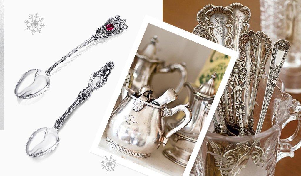 серебряные ложки с чернением