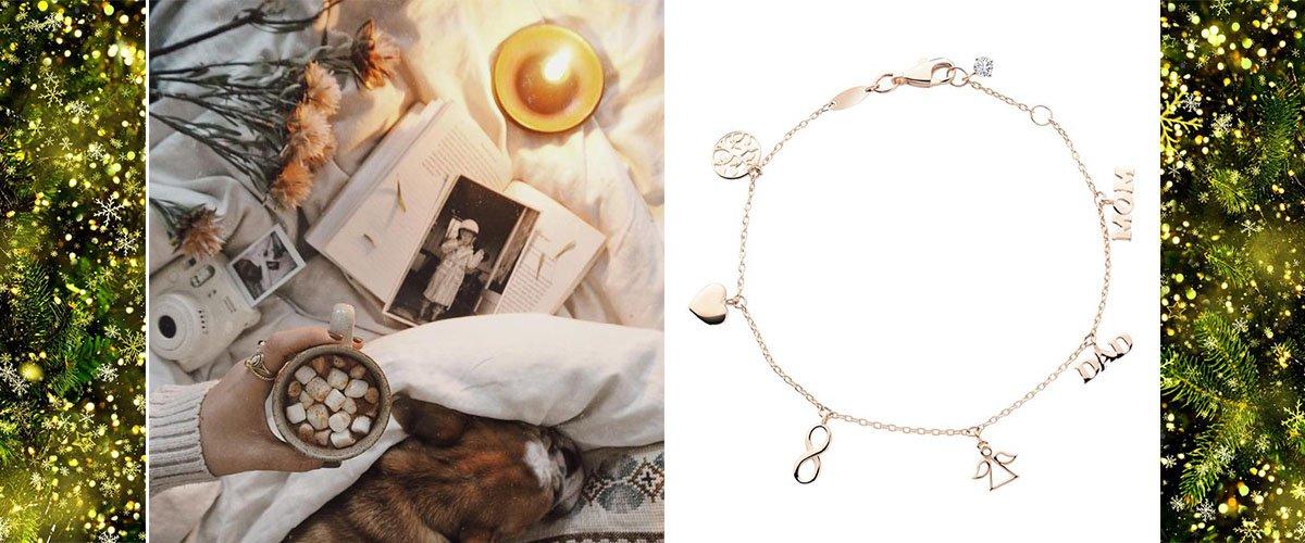 золотой браслет с подвесками женский