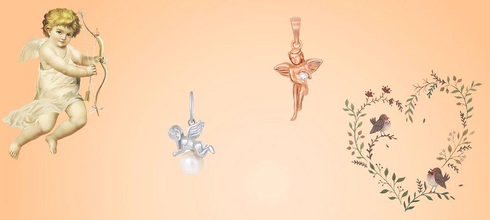 кулон ангел с бриллиантом