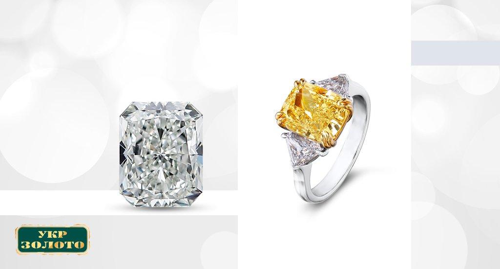 кольцо с камнем огранки радиант