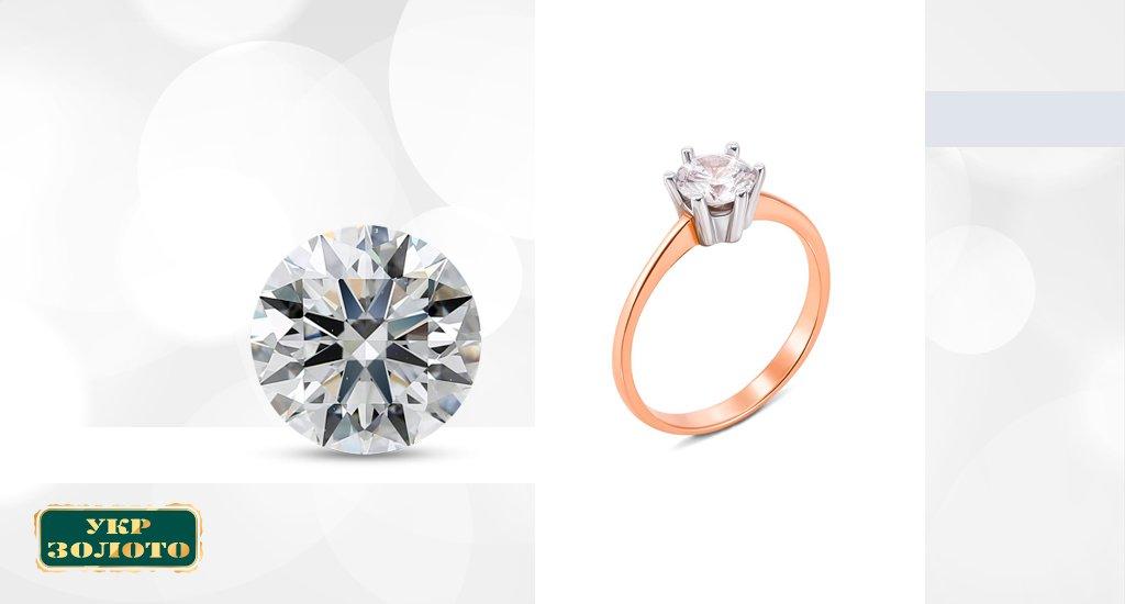 бриллиантовое кольцо с круглой огранкой