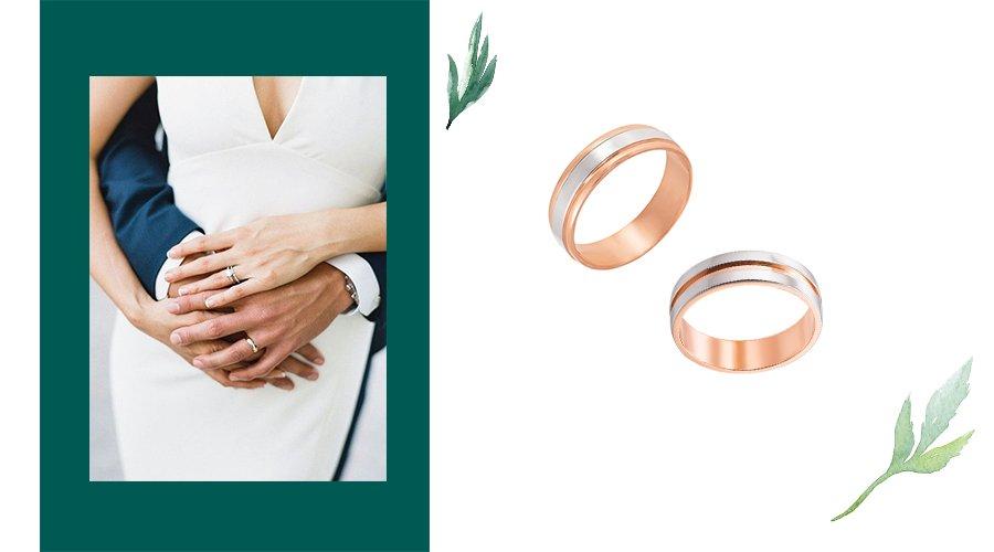 обручальные комбинированные кольца из золота