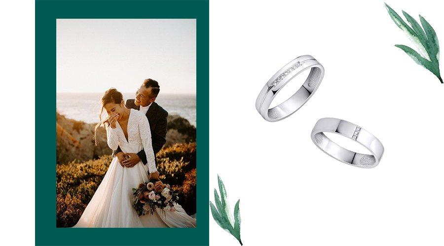 обручальные кольца из белого золота с фианитами