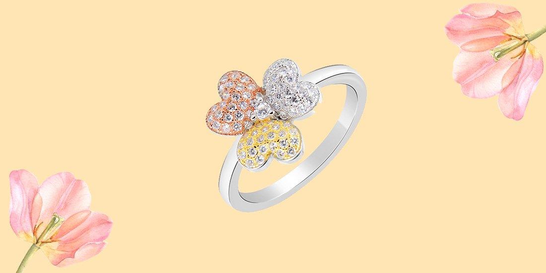 кольцо цветок из серебра