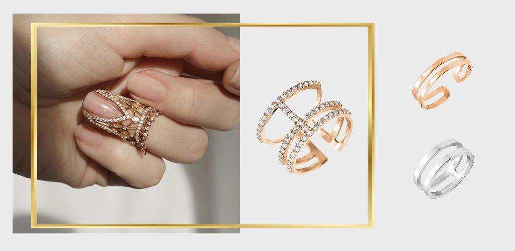 золотое фаланговое кольцо с фианитами