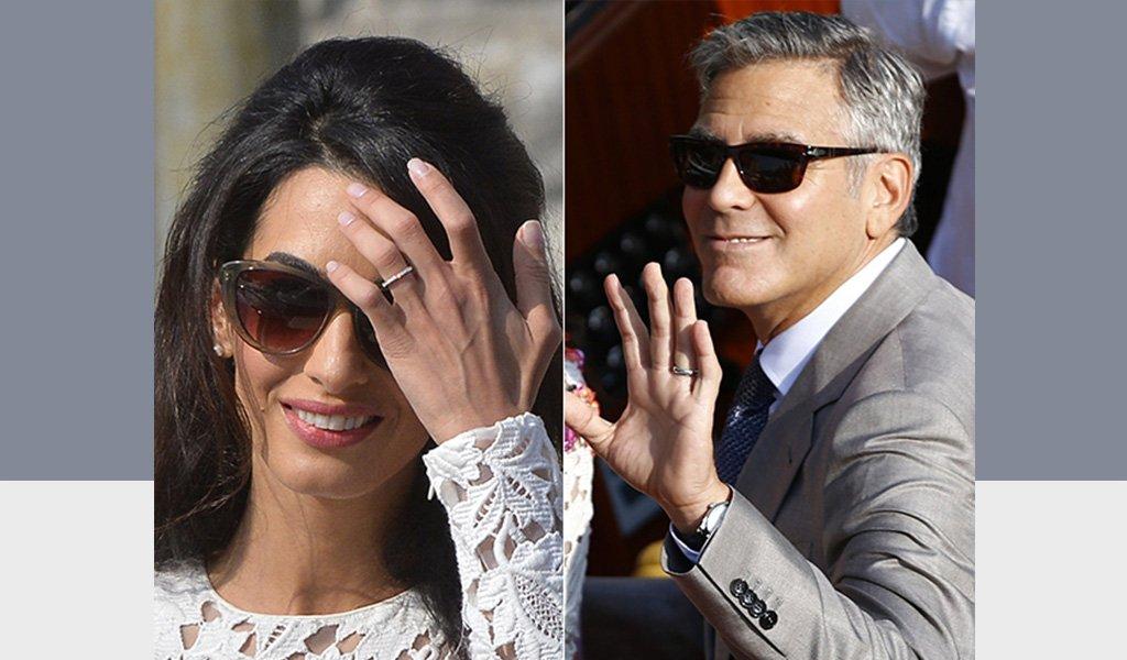 Джордж Клуни и Амаль Клуни кольца